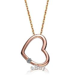 0.05 Ct Round Cut Diamond Solitaire Love Heart Pendant With Chain 10K Rose Gold