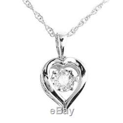 0.05ct Round Cut Natural Diamond Heart Pendant 925 Sterling Silver For Women's