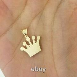 0.10 CT 14K Solid Yellow Gold Heart Crown Pendant Charm Small