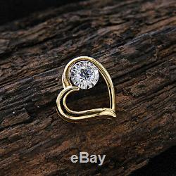 0.10 TCW Round Cut Diamond 10k Yellow Gold Solitaire Heart Pendant Necklace
