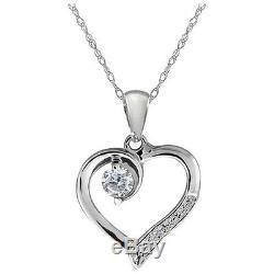 0.17 Ct Genuine White Diamond Sterling Silver Heart Shape Pendant with 18 Chain