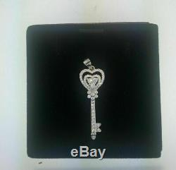 0.50 CT Round Cut Diamond Key Hearts Pendant Love Charm 14K White Gold Over