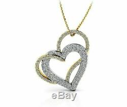 0.50 Ct Round Cut Diamond Double Heart Pendant Necklace 14k Two Tone Gold Finish