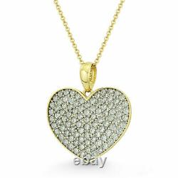 0.50tcw Created Diamond Heart Pendant 14K Solid Yellow Gold Pave Charm