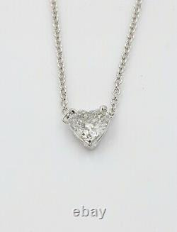 0.70 Natural Diamond Station and Heart-Shaped Pendant Necklace 14k White Gold