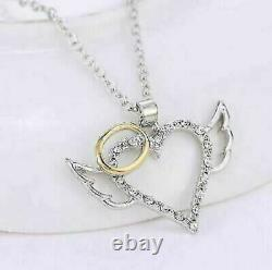 0.75 Ct Round Cut VVS1 Diamond Wings Angle Heart Pendant 14k Two Tone Gold Over