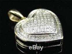 10K Ladies Yellow Gold Fn White Diamond Two Toned Pave Heart Pendant Charm 1 Ct