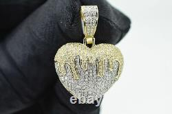 10K Solid Yellow Gold and SI 0.75 CT Drip Heart Pendant Charm with 10K Rope Chain