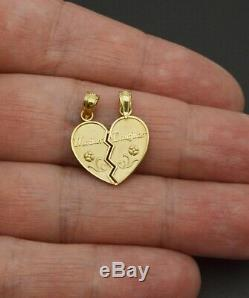 10K Solid Yellow Gold mother and daughter Broken Heart Pendant Charm 1.3gr