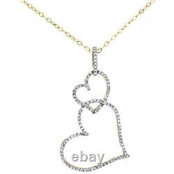 10K Yellow Gold Diamond Stacked Love & Hearts Pendant 1.25 Pave Charm 1/4 CT