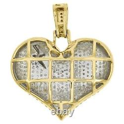 10K Yellow Gold FN Diamond Dome Heart with Lightning Bolt Pendant 1.05 Charm 1 CT