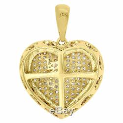 10K Yellow Gold Ladies Round Diamond Pave Puff Dome Heart Pendant Charm 0.58 CT