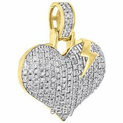 10K Yellow Gold Over Diamond Dome Heart with Lightning Bolt Pendant 0.75 Charm