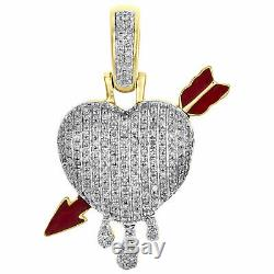 10K Yellow Gold Over Diamond Domed Heart & Bow Arrow Pendant 1.25 Pave Charm