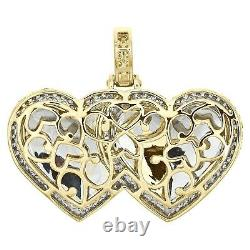 10K Yellow Gold Over Diamond Double Heart Memory Picture Frame 1.40 Pendant New