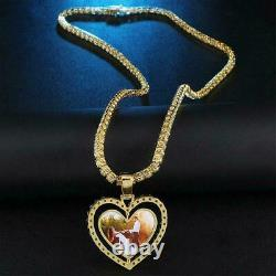 10K Yellow Gold Over Heart Custom Photo Personalized Memorial Pendant 5Ct