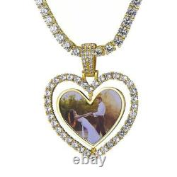 10K Yellow Gold Over Heart Custom Photo Personalized Memorial Pendant 5.00 Ct