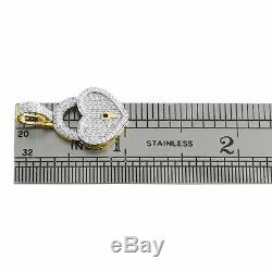 10K Yellow Gold Over Ladies Diamond Key to Heart Pendant 1.05 Pave Love Charm