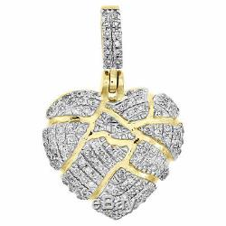 10K Yellow Gold Over Round Cut Diamond Shattered Heart Pendant Broken Love