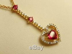 10k Ruby Red SPINEL HEART & Diamond LAVALIER PENDANT NECKLACE 17 MINT