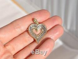 10k Solid Gold 1 Ctw Natural Diamond Heart Necklace Pendant Triple Row Large
