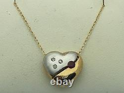 10k Two Tone Gold 18 Necklace with Heart Ruby & Diamonds Charm Round Pendant