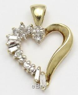 10k Yellow Gold Baguette and Round Diamond Heart Pendant