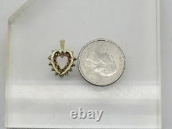 10k Yellow Gold Round Green Emerald Diamond CHIP Accent Heart Necklace Pendant