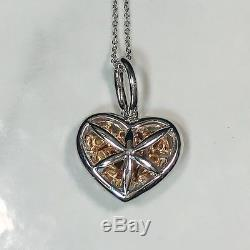 14K Gold Mix Multi Cut Fancy Canary Yellow Brown Diamond Heart Pendant Necklace