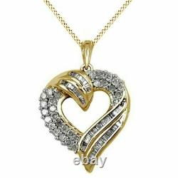 14K Gold Over Sterling Silver 1.00 Ct Round And Baguette Diamond Heart Pendant