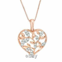 14K Rose Gold Over 1.00 Ct Round Cut Diamond Heart Pendant Necklaces