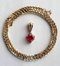 14K Solid Gold Necklace with 10K Heart-Shaped Ruby Diamond Pendant