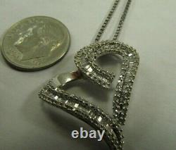 14K Solid White Gold Box Chain Necklace with Diamond Heart Pendant 16 Long #1606