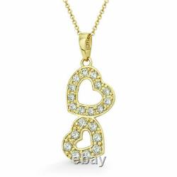 14K Solid Yellow Gold Two Hearts Pendant 0.12tcw Created Diamond Double Charm