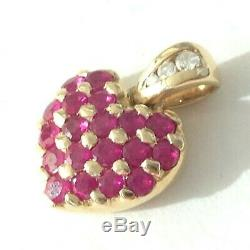 14K Yellow Gold Diamond and Ruby Heart Pendant for Chain Necklace Jewelry
