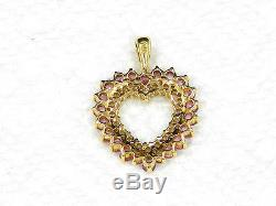 14K Yellow Gold Diamonds And Pink Sapphires Heart Pendant