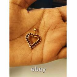 14K Yellow Gold Finish Necklace With Diamond & Red Ruby Heart Pendant 1.50 Ct