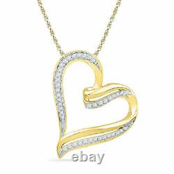 14K Yellow Gold Over 1.00 Ct Round Cut Diamond Heart Pendant Necklaces