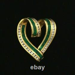 14K Yellow Gold Over 2Ct Green Emerald & Diamond Heart Slider Pendant With Chain
