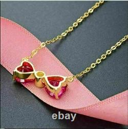 14K Yellow Gold Over Beautiful Engagement Wedding Bow Tie Pendant 2.5 Ct Ruby