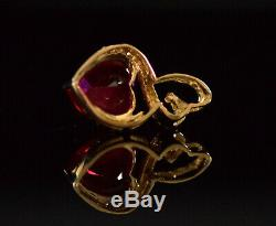 14K Yellow Gold Red Ruby & Diamond Heart Pendant Necklace 4.50ctw