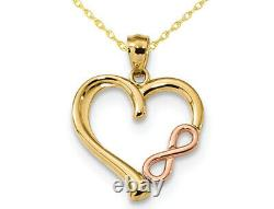 14K Yellow and Pink Gold Heart Infinity Pendant Necklace