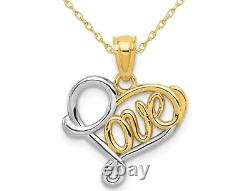 14K Yellow and White Gold LOVE Heart Pendant Necklace