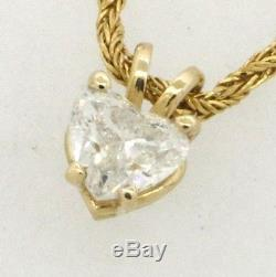 14K gold lovely. 61CT Heart diamond solitaire pendant on fancy chain necklace