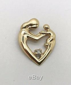14K solid yellow gold Mother and Child diamond heart charm pendant