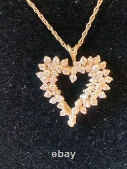 14K yellow gold 1.5 CT diamond cluster heart pendant Necklace chain 14K gold 18