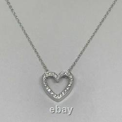 14 Ct White Gold Over Diamond Heart Pendant on Cable Chain by Diamond Designs