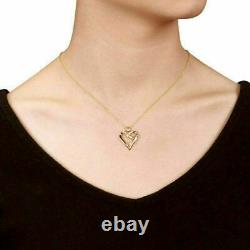 14 Yellow Gold Fn Sterling Silver Diamond Heart Love Pendant Necklace With Chain