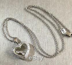 14ct White Gold Floating Diamond Necklace 0.30ct Heart Happy Dancing Pendant 4g