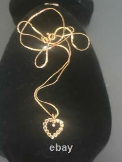 14k Gold Heart Necklace Pendant With Diamond